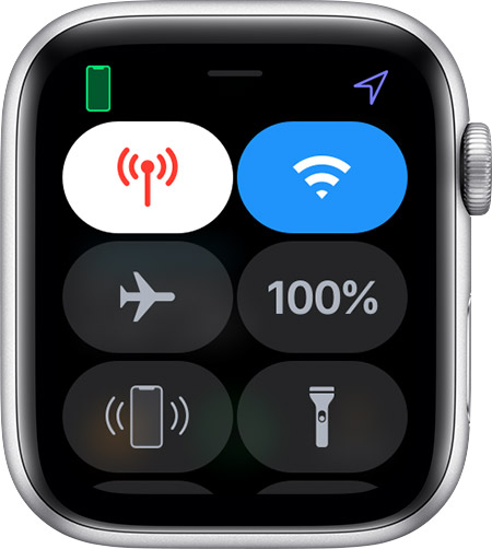 Central de controlo no Apple Watch.