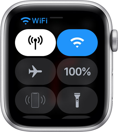 Control Center on Apple Watch showing that you're connected to Wi-Fi.