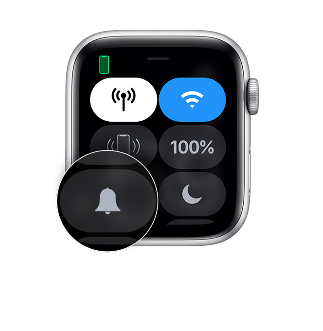 Centru de control de pe Apple Watch care afișează o modul silențios.