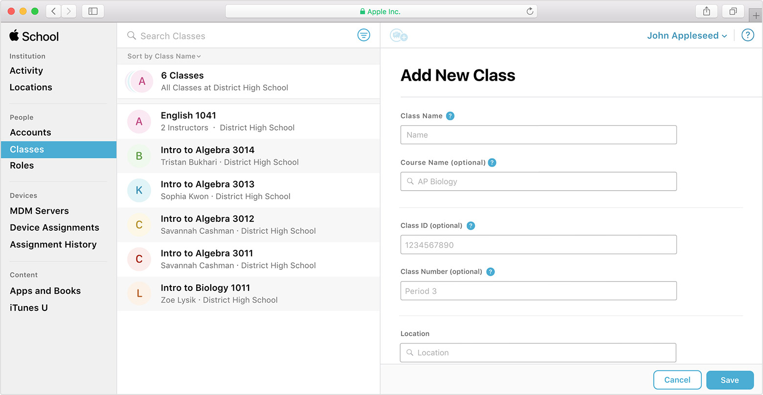 Create and edit classes for Schoolwork in Apple School
