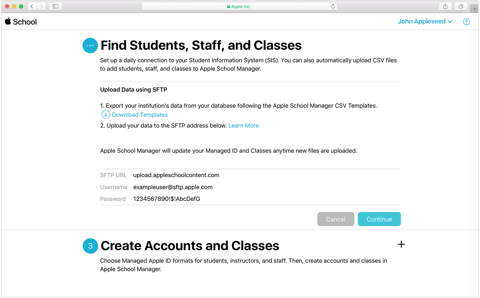 Use SFTP to upload student, staff, and class data to Apple School