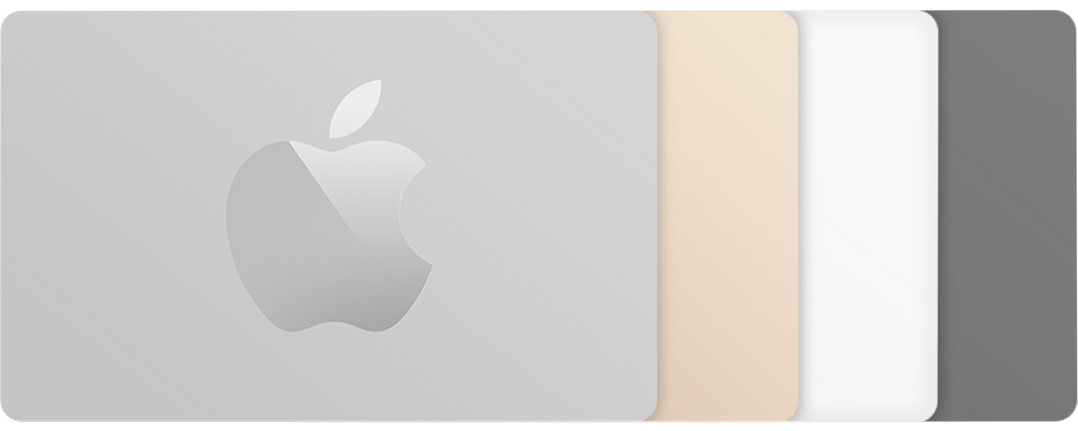 Apple Store Gift Cards in a range of colors including silver, gold, white, and gray.
