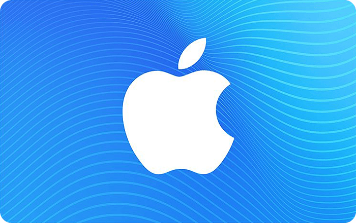 App Store & iTunes Gift Card showing a white Apple logo on a blue background with a wavy pattern.