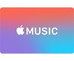 Apple Music Gift Card showing red, blue, and purple design.