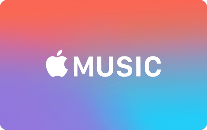 The front of an Apple Music Gift Card. It's pink, purple, and blue with a white Apple Music logo on it.