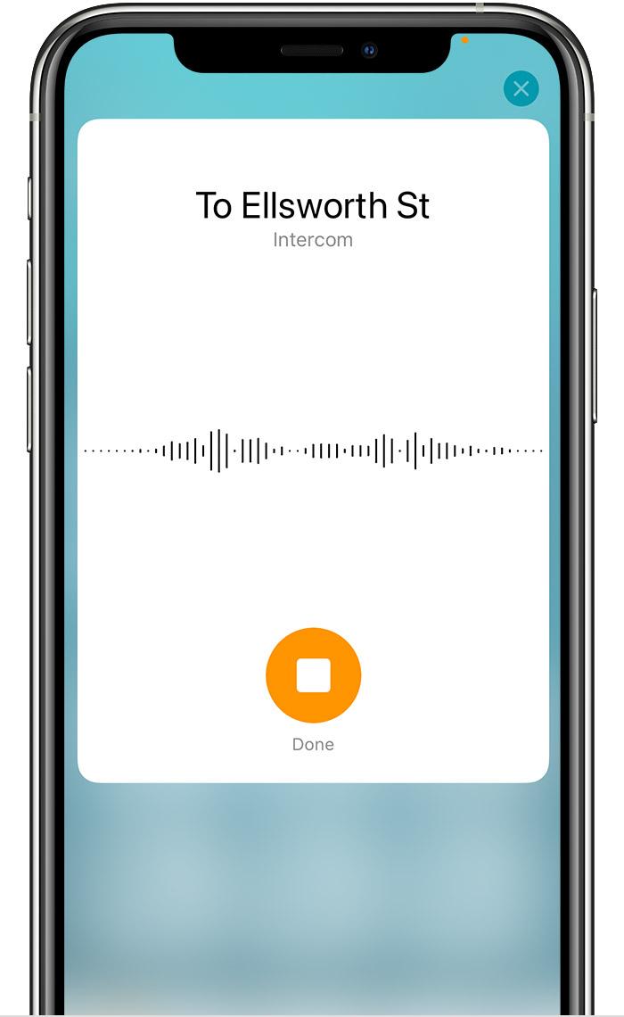 Captura de pantalla de iOS que muestra la pantalla de grabación de mensajes de Intercomunicador.