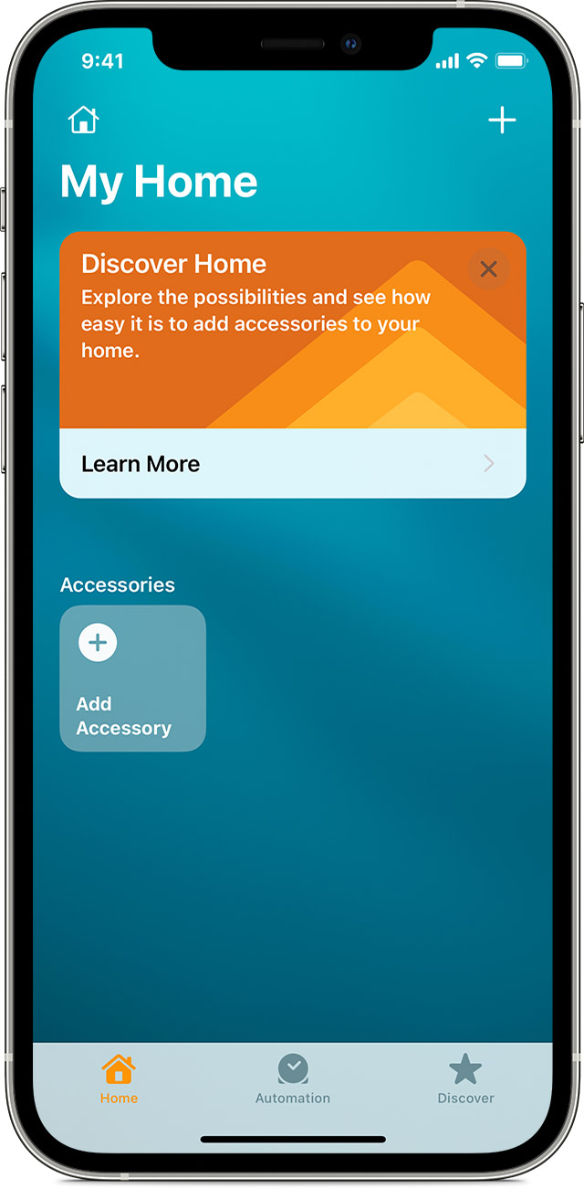 The Home app screen on iOS showing the Add Accessory tile