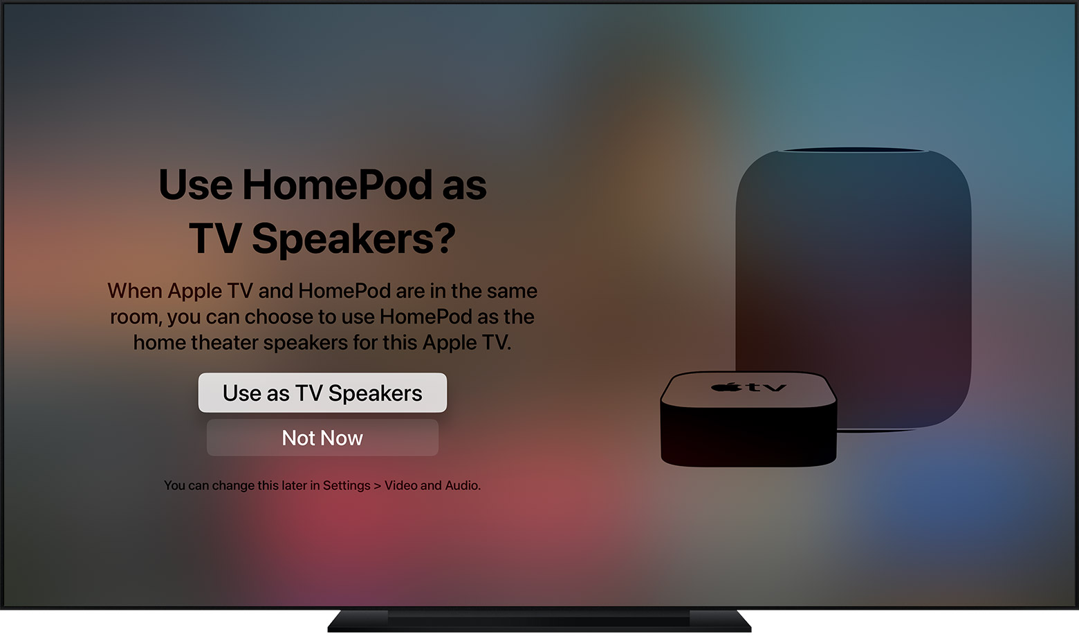 tvOS screenshot showing the prompt to Use HomePod as TV Speakers.