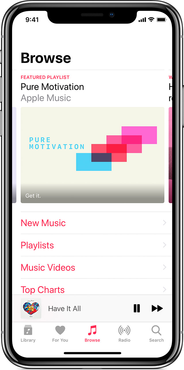 Un iPhone X affichant la section Explorer de l'app Musique.