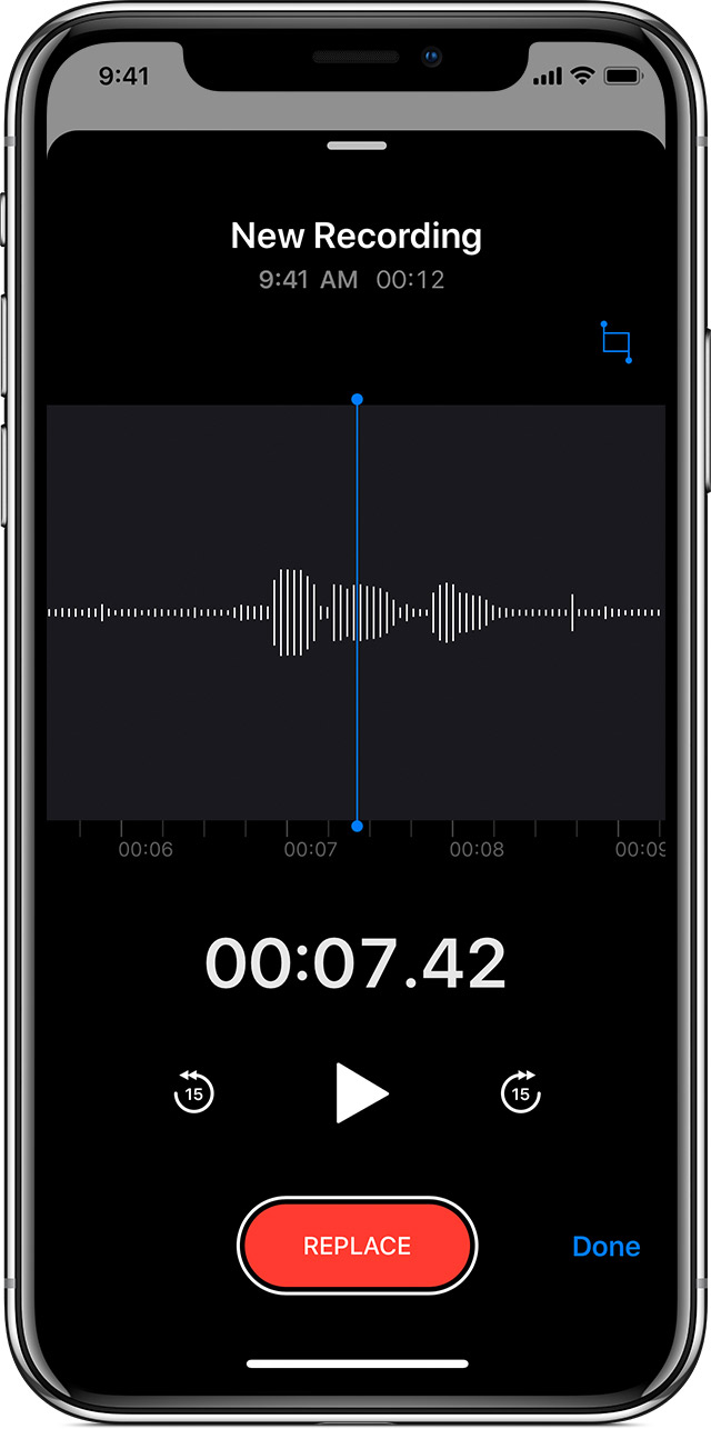 a voice memo being edited on iPhone