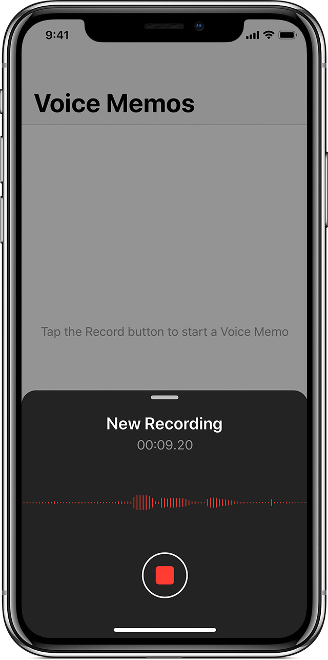 a voice memo being recorded on iPhone