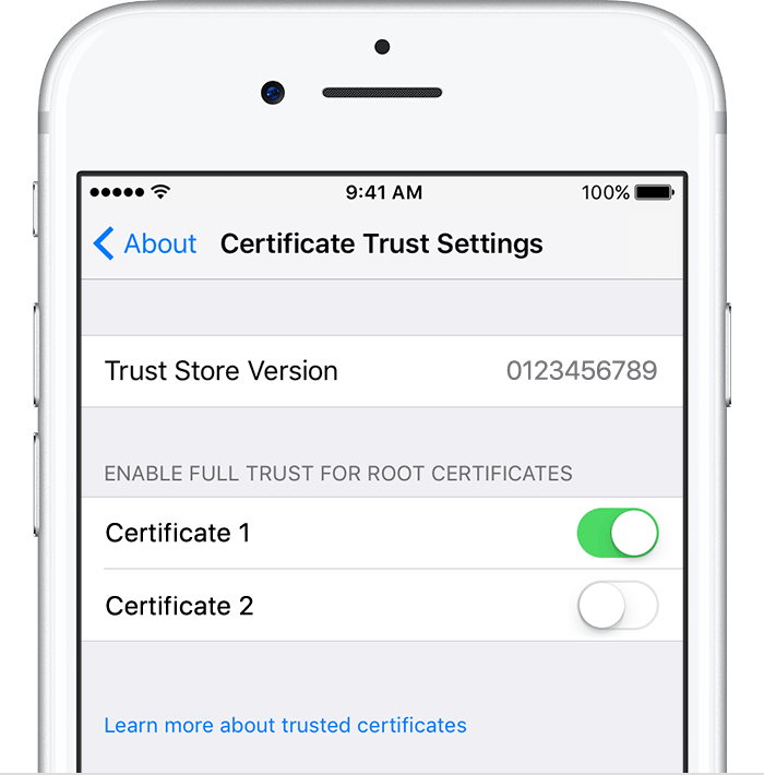 Trust manually installed certificate profiles in iOS - Apple