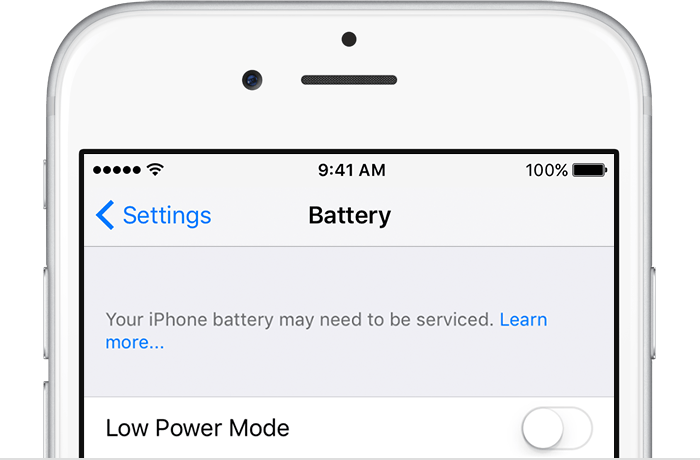 The Battery section in the Settings menu on an iPhone.