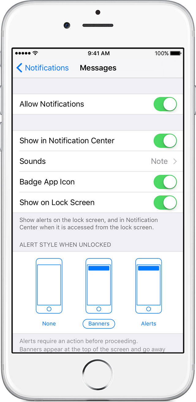 Change Alert Styles And Settings For Notifications