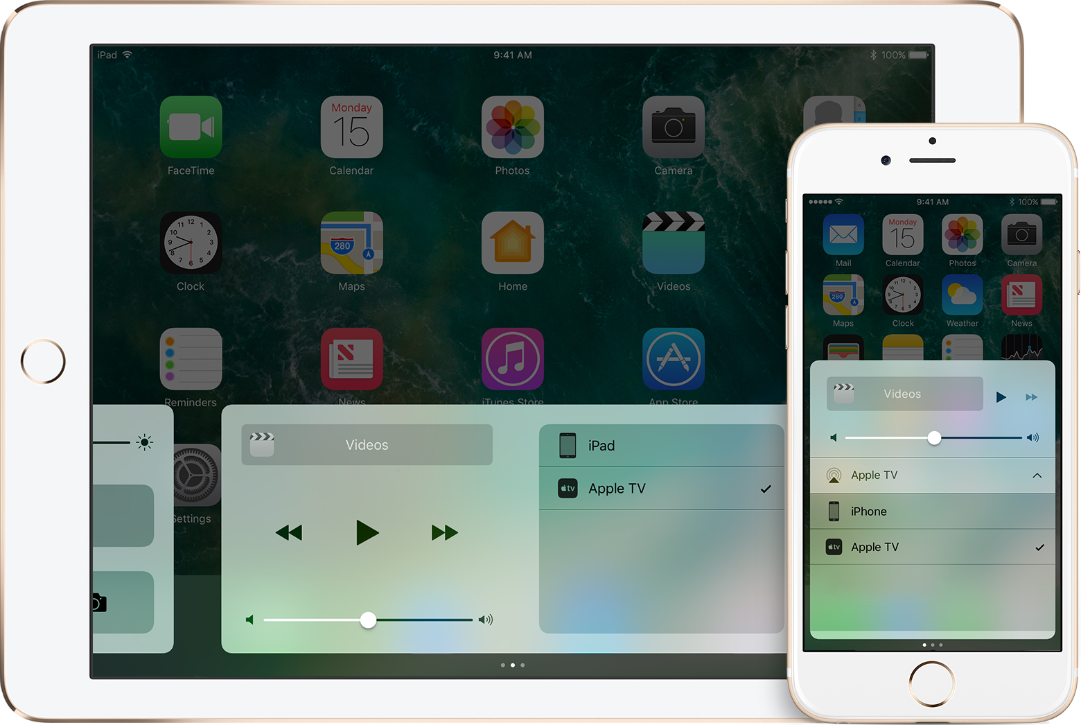 The list of AirPlay devices in Control Center on iOS