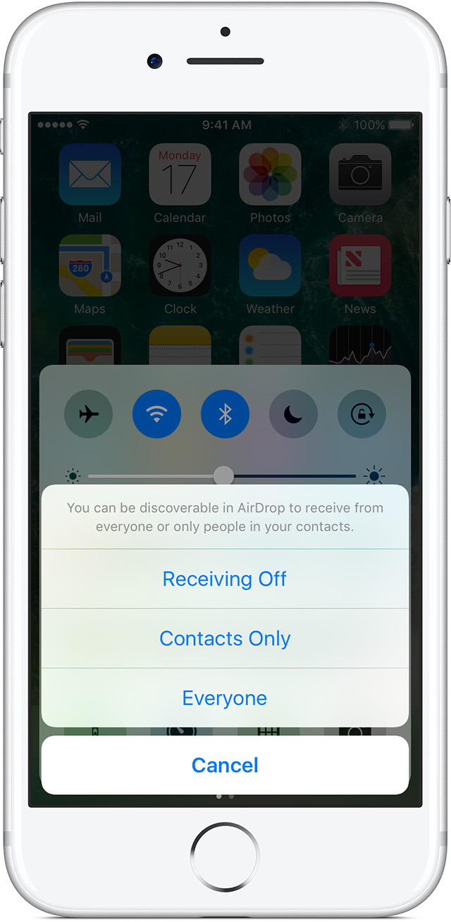 Set Your Airdrop Receiving Options