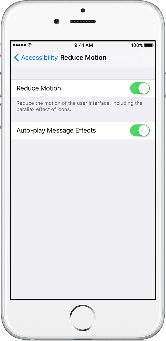 if you have sensitivity to motion effects or screen movement on your iphone ipad or ipod touch you can use reduce motion to turn off these effects