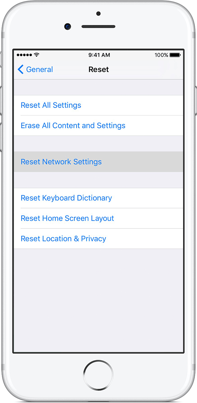 Go To Settings > General > Reset And Tap Resetwork Settings