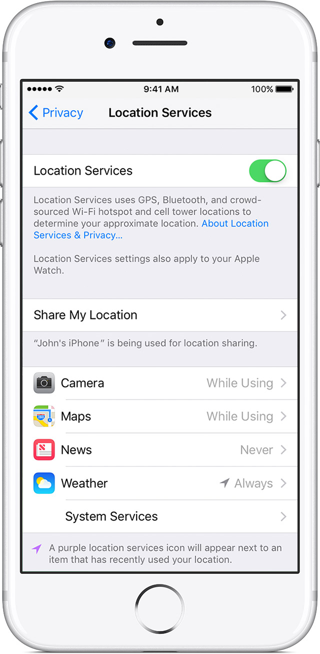 Turn Location Services On Or Off For Specific Apps