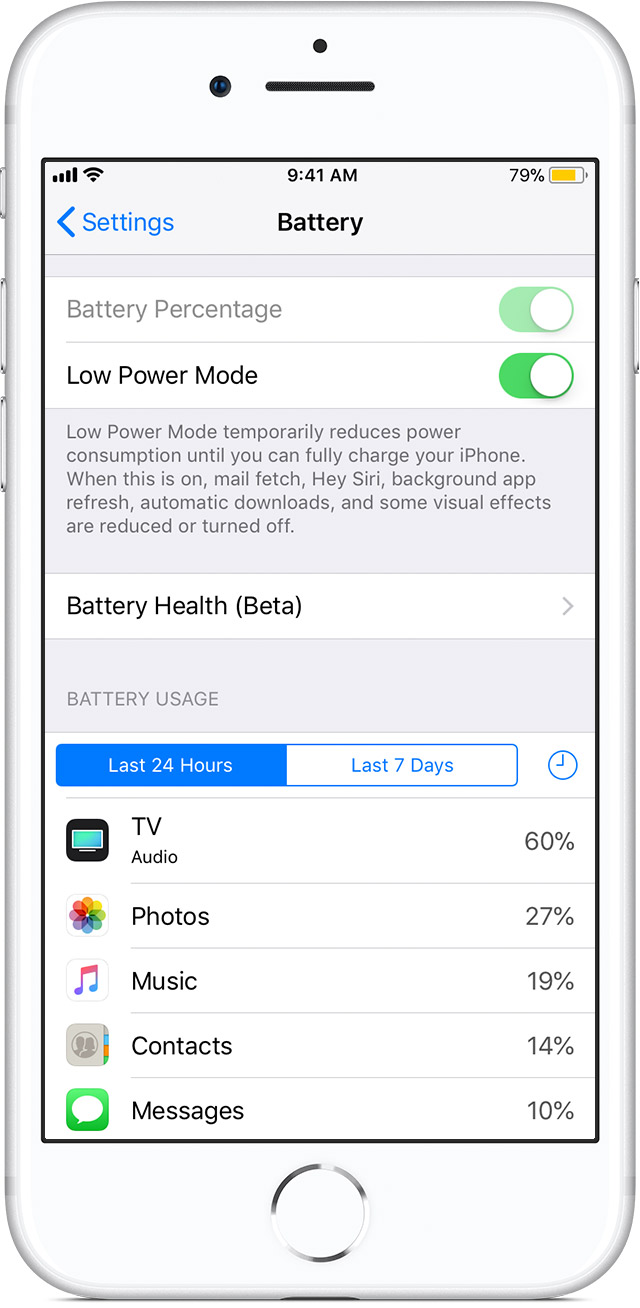 Use low power mode to save battery life on your iphone apple support ios11 3 iphone8 settings battery low power modeg buycottarizona Image collections
