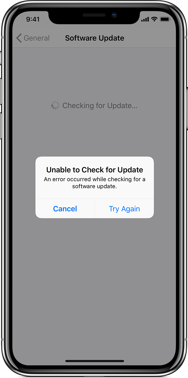 alert on iPhone saying unable to check for update