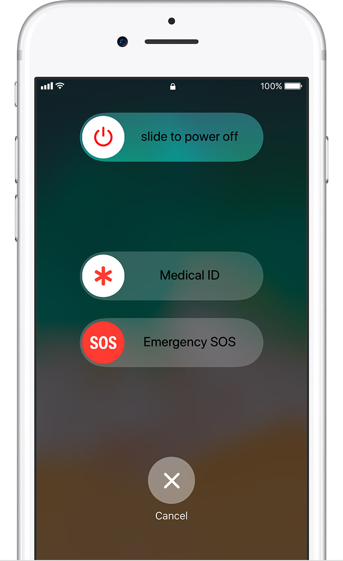 Slide to Power Off, Medical ID, and Emergency SOS options