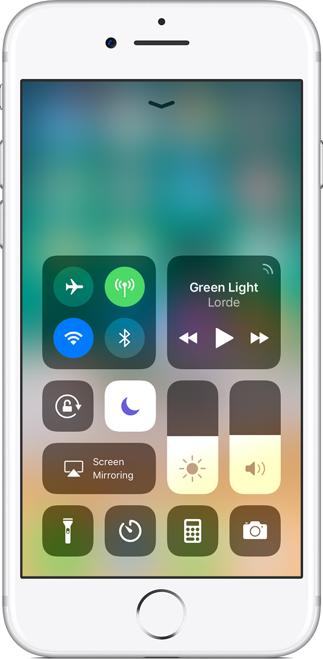 Control Center screen