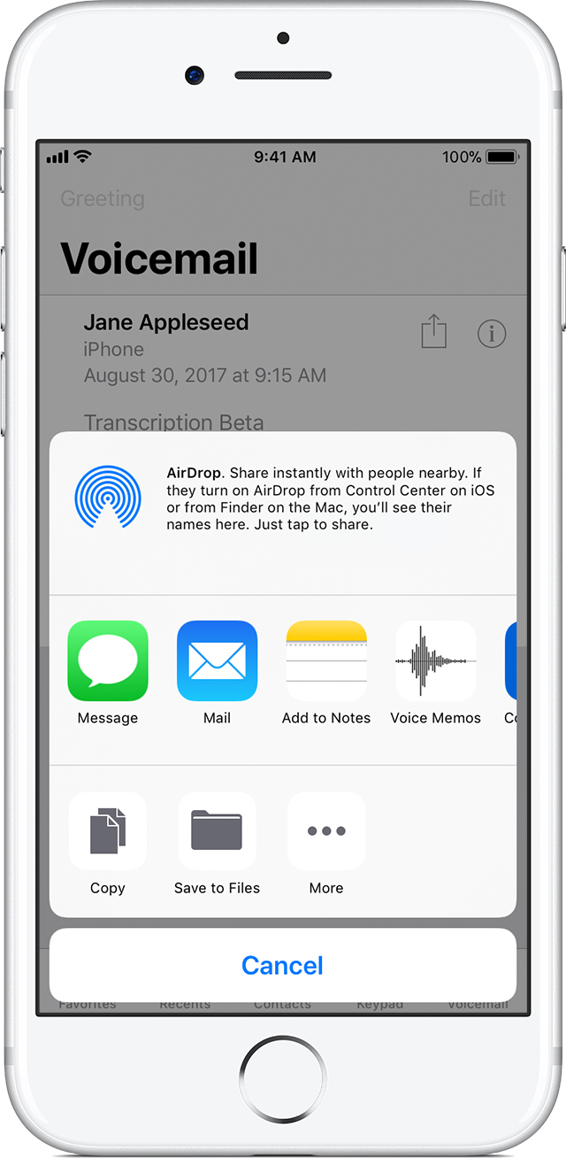 How to save visual voicemail messages on your iphone apple support share your voicemail using messages mail or airdrop kristyandbryce Gallery