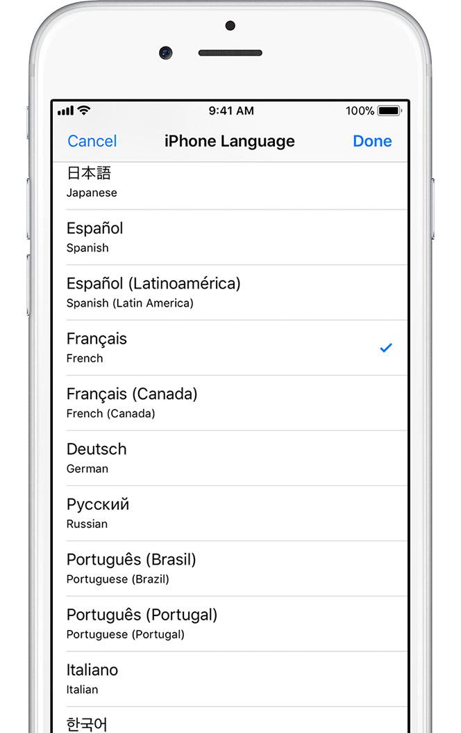 change language on iphone