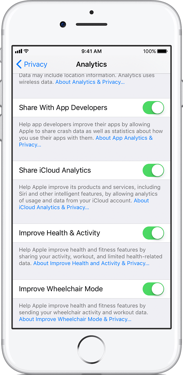 share analytics, diagnostics, and usage information with apple