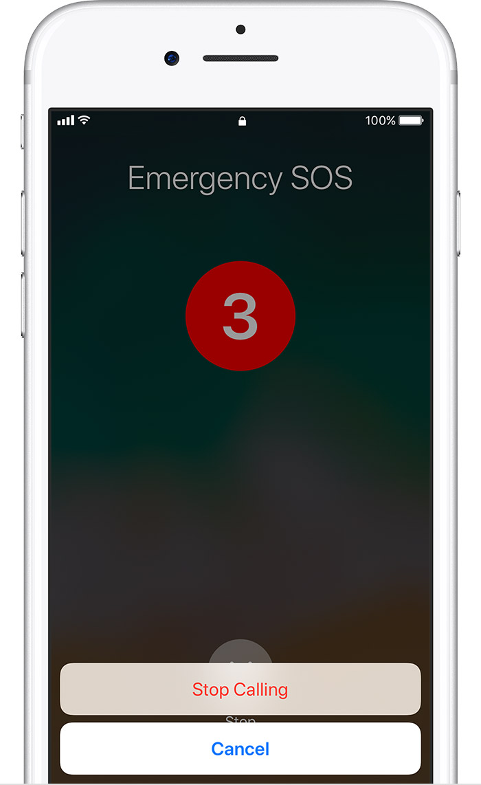 Emergency SOS Stop Calling screen