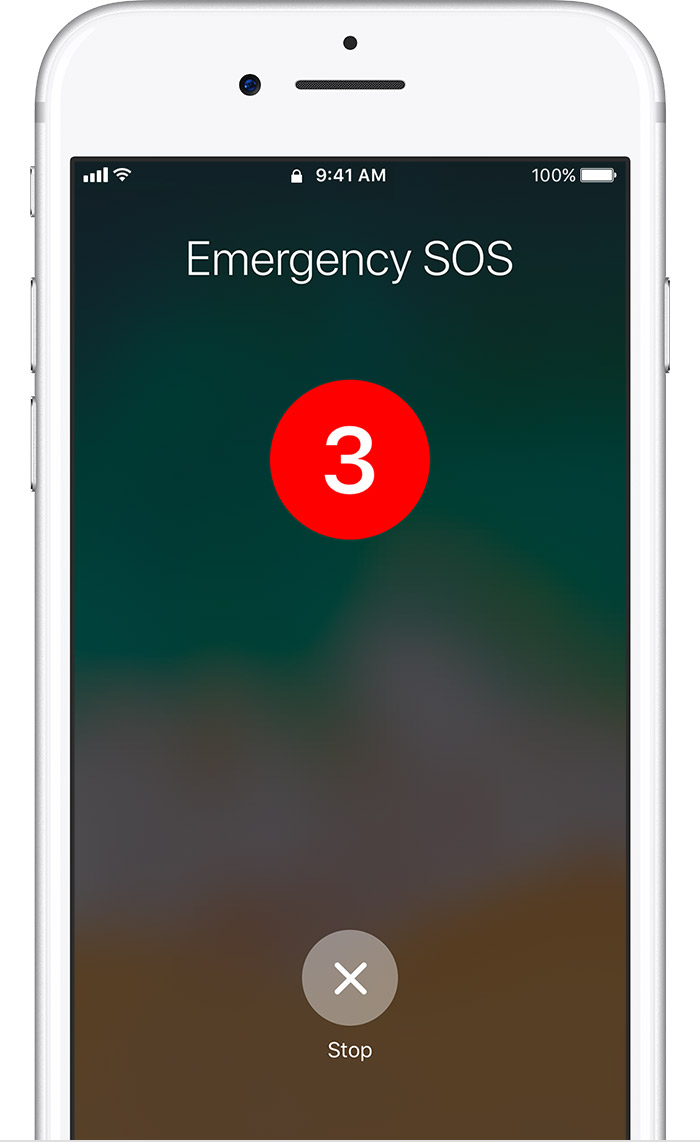 Emergency SOS countdown screen