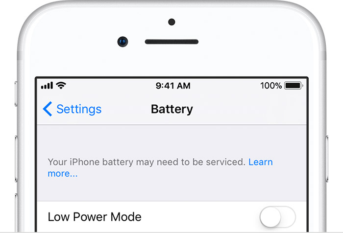 Battery settings in iPhone