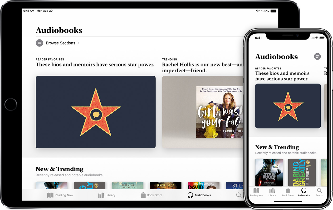 iPad and iPhone showing the Audiobooks tab in Apple Books