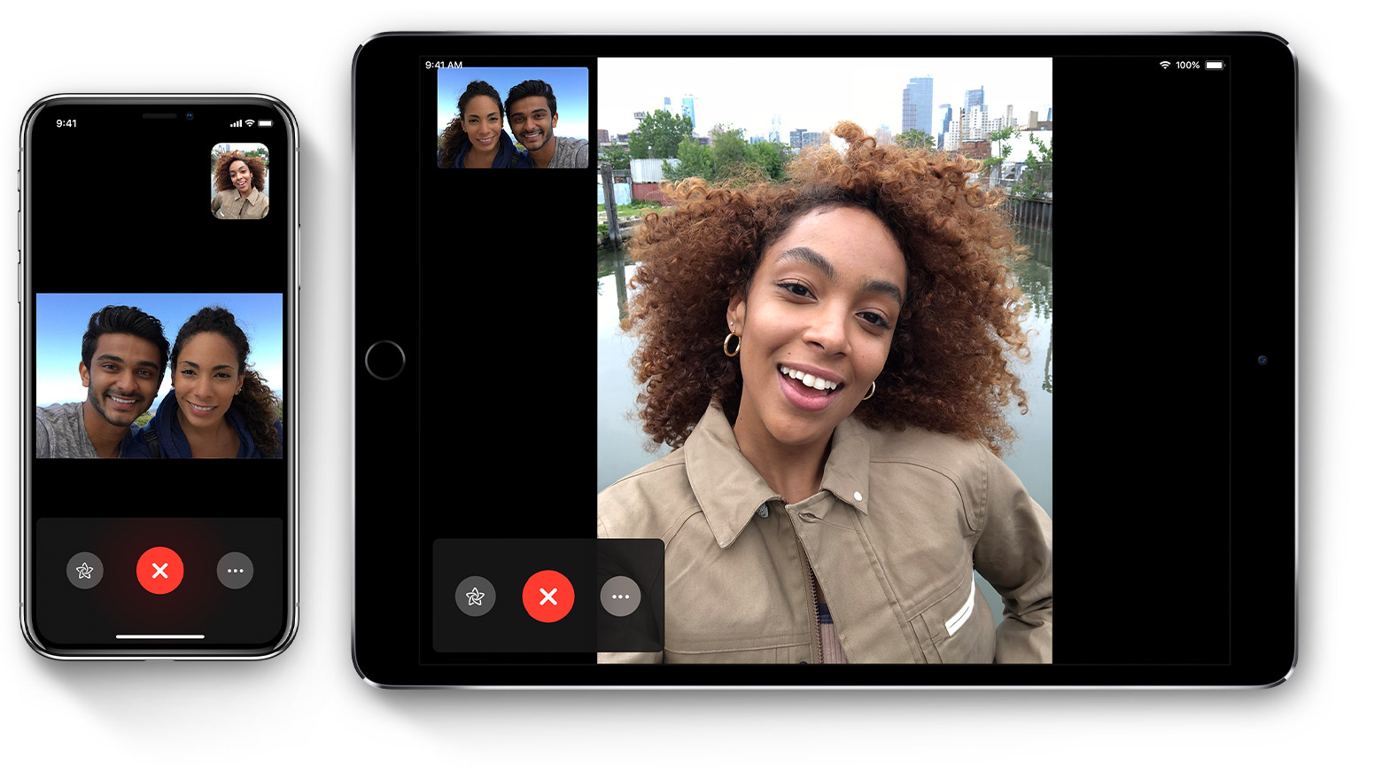 A couple chatting with a woman via FaceTime video call on an iPhone and an  iPad