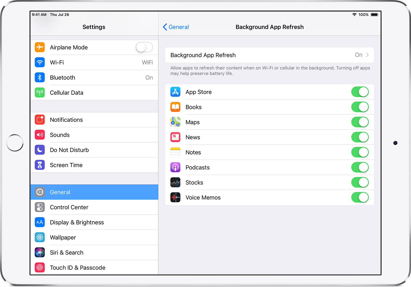 Background App Refresh settings