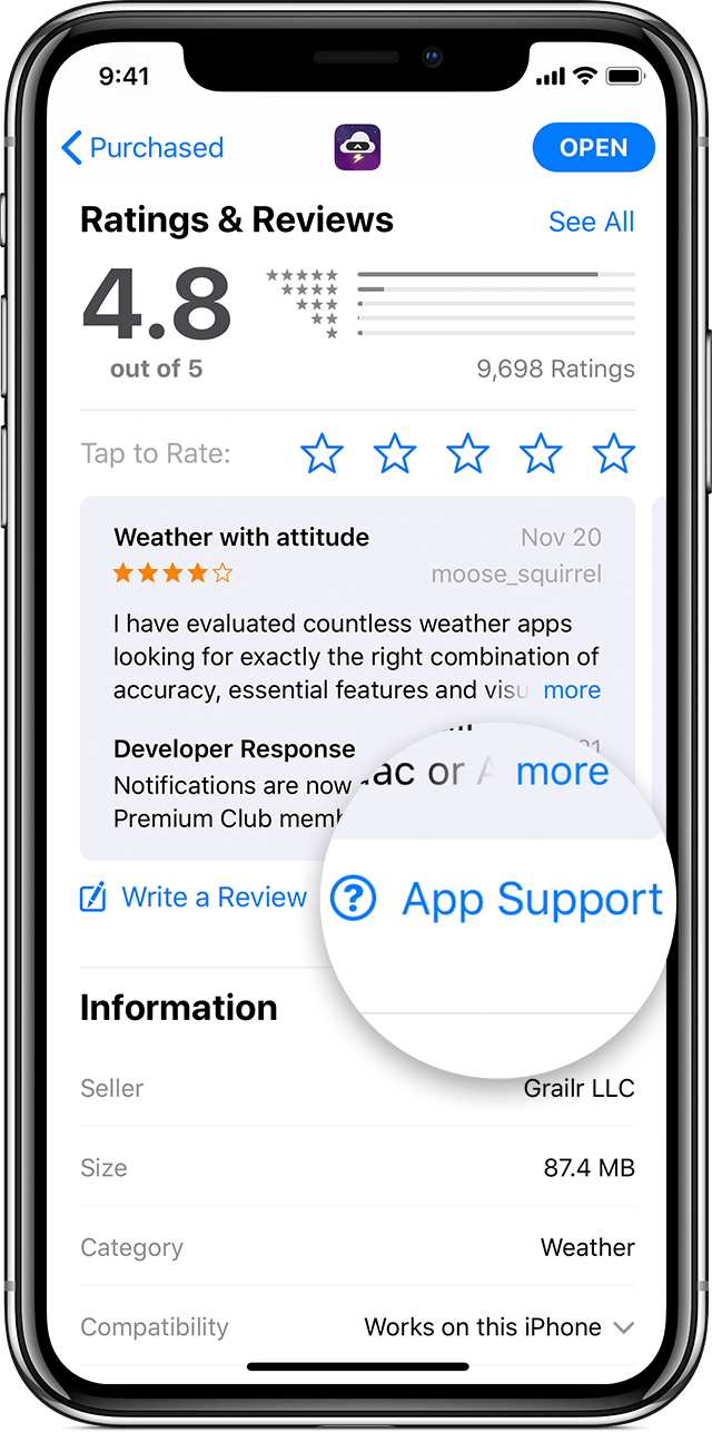An iPhone X showing the Ratings & Reviews section of an app's information page in the App Store. The App Support button is magnified.