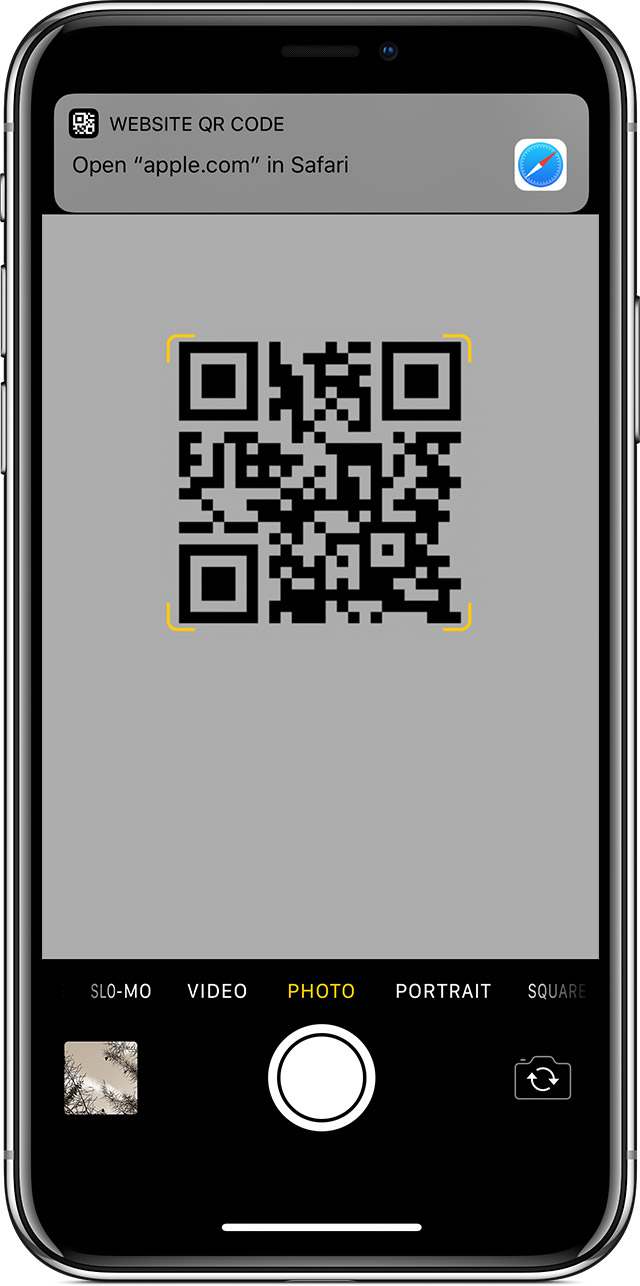 scanning a QR code on iPhone