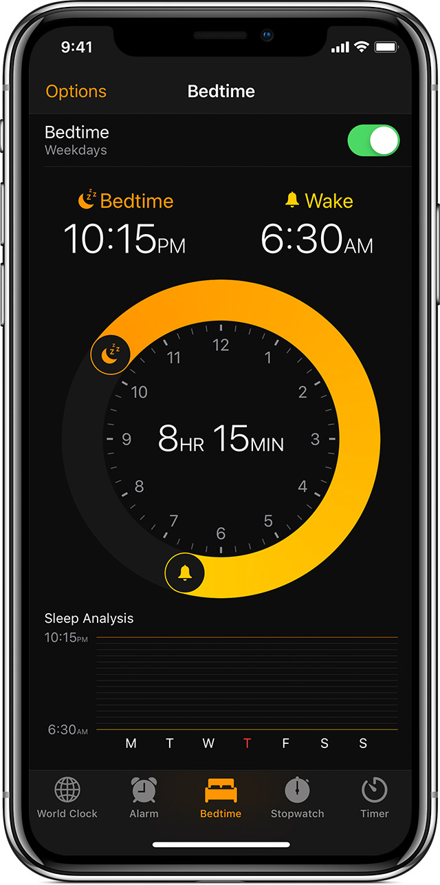 Bedtime tab in the Clock app showing a 10:15 bedtime and a 6:30 wake time.