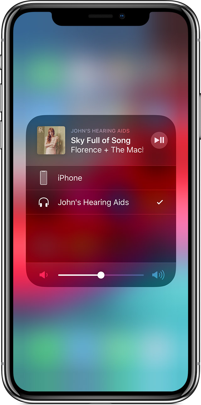 screen showing playback controls on iPhone