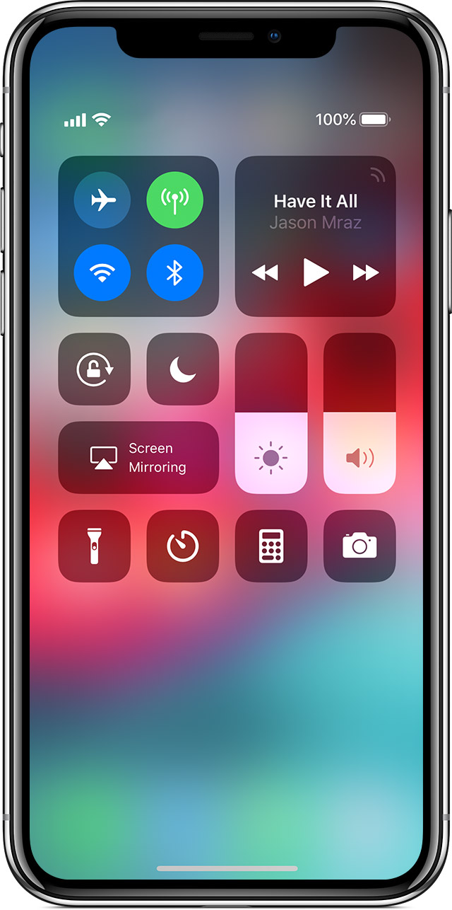 Control Center on iPhone X