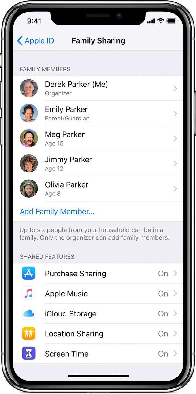 iPhone showing Family Sharing screen with Family Members
