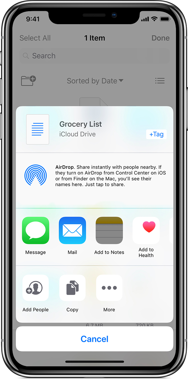 iPhone showing grocery list on iCloud Drive with AirDrop prompt
