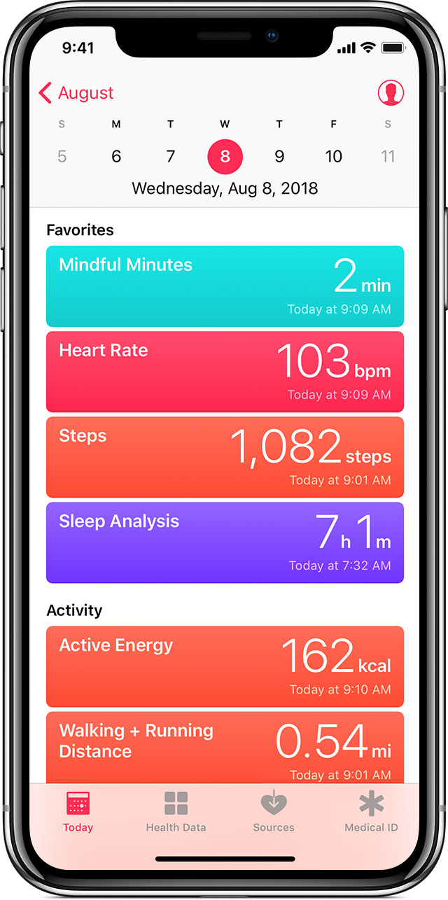 Summary of health info, including mindfulness, heart rate, steps, sleep analysis, and more.
