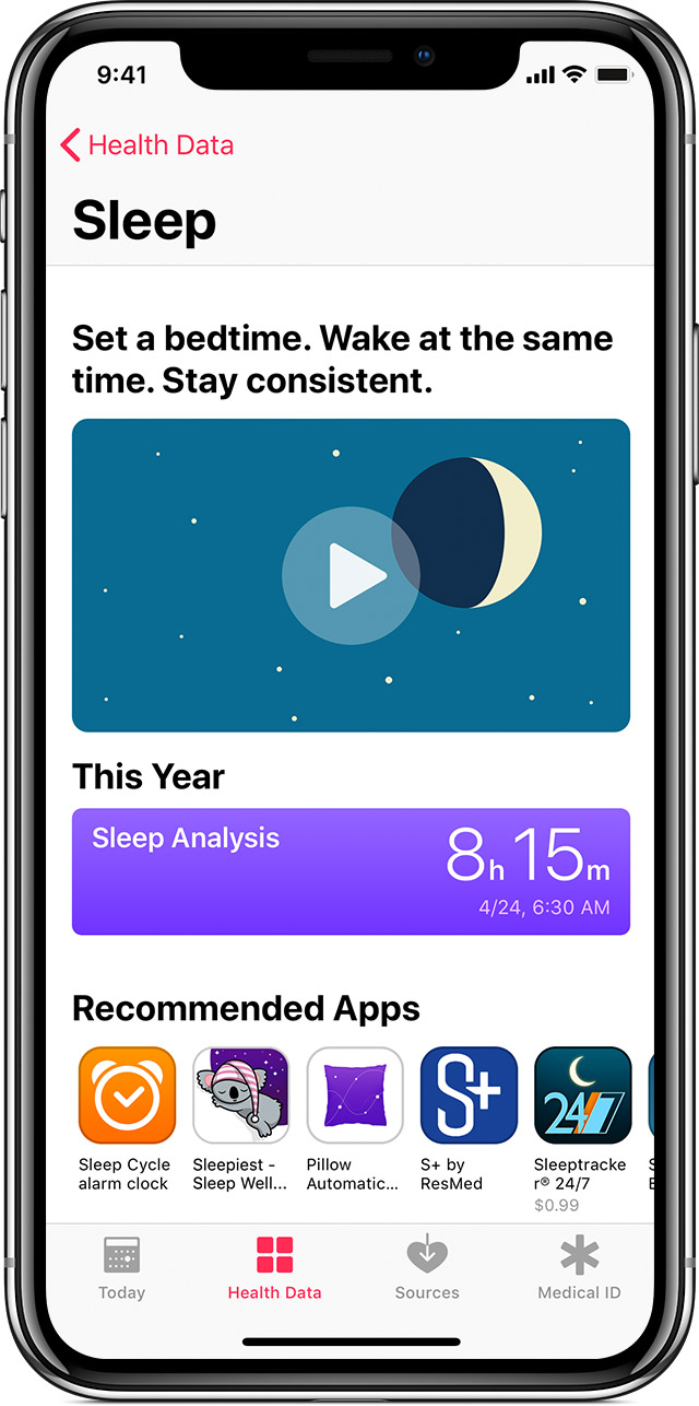Sleep analysis in the Health app showing 8 hours and 15 minutes.