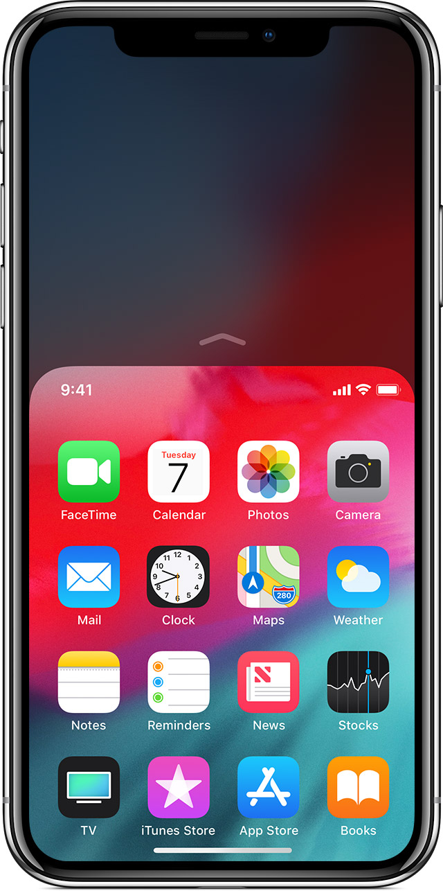 screen showing reachability being used on iPhone X