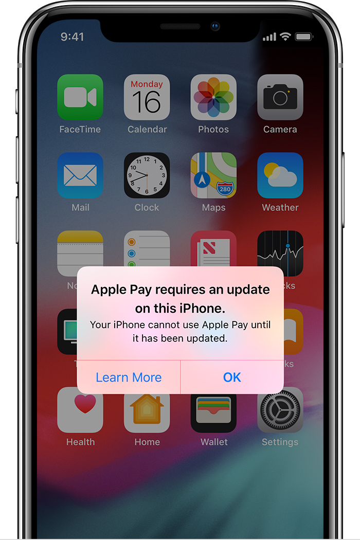 Apple Pay requires an update
