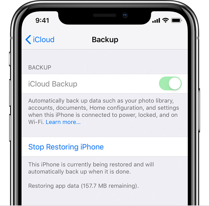iPhone showing iCloud Backup turned on