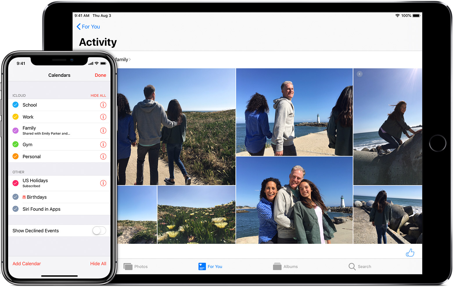 Mac showing shared family album, and iPhone showed shared family calendar