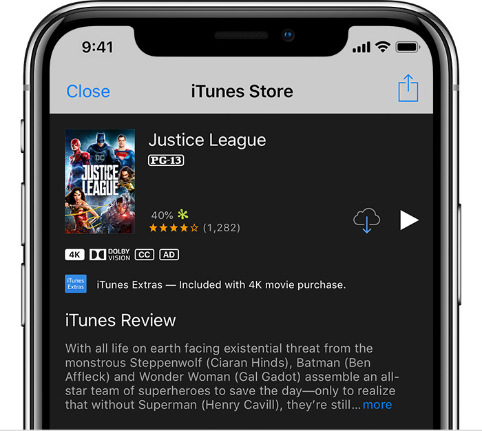 An iPhone showing the Justice League information page in the iTunes Store.